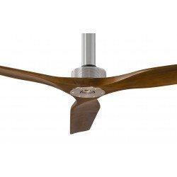 Ventilador de techo, Softy 60 BS-SW, 152cm, cromo/nuez, DC, hiper silencioso, + poste de 60cm, Klassfan
