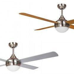 EFFY- Ventilador de techo 122 cm DC. Diseño. Cromo y roble/plata. Potente. Silencioso. Con luz LED. Con mando. Reversible
