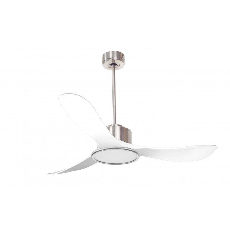 Modulo KlassFan- Ventilador de techo super desestratificador. Cromo y blanco. Con luz. Hiper silencioso. Mando. Termostato