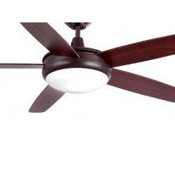 Ventilador de techo clásico, marrón, con 132 cm con luz, control remoto IR, FARO Sanfan 33378