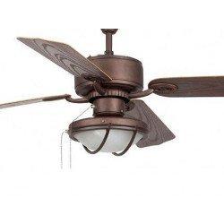 Ventilador de techo, clásico, marron, 132 cm. con lámpara, control con cadenas, FARO 33356