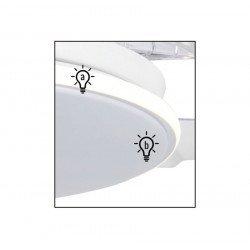Ventilador de techo, Sefir, 107cm, con palas retráctiles transparentes, cuerpo blanco, diseño, con luz, Lba Home.