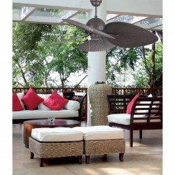 Ventilador de techo,CUBA, IP20, 132 cm tropical, para interiores y exteriores (semicubiertos), marrón, Faro