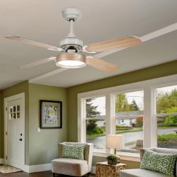 Ventilador de techo, Boreal Blanc, 107cm, blanco/haya, con luz, con mando a distancia, Lba Home.