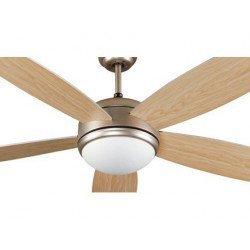 Ventilador de techo, moderno, mate níquel, aspas de dos colores, 132 cm. con lámpara, control remoto IR, FARO Vanu 33313