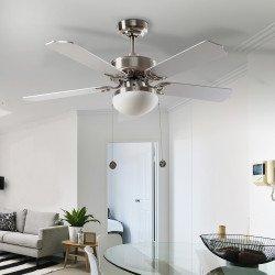 Ventilador de techo, Hero Argent, 107cm, niquel/haya plateada, con luz, Lba Home.