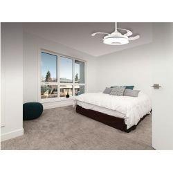 Ventilador de techo, Mastersound, 106,6cm, con palas transparentes retráctiles, cuerpo blanco, con luz, altavoz, Lba Home.
