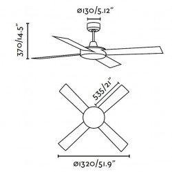 Ventilador de techo, moderno, 132 cm. MALLORCA níquel mate Faro 33292