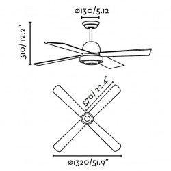 Ventilador de techo, moderno, 132 cm., níquel mate , Faro 33287 IBIZA