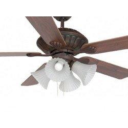 Ventilador de techo clásico, color marrón oxidado 132 cm. con luz, FARO Corso 33274