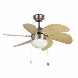 Ventilador de techo, marrón mate, 81 cm. con lampada - FARO PALAO 33183 níquel mate
