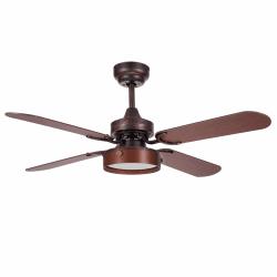 Moderno ventilador de techo marrón de 107cm, placa de 16 w de leds, mando a distancia