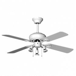 Ventilador de techo blanco moderno 107 cm, 3 focos GU10 a control remoto