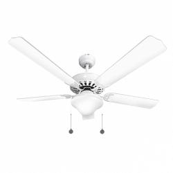 Ventilador de techo blanco clásico de 132 cm, 2 bombillas E27, cable de tracción, control remoto.
