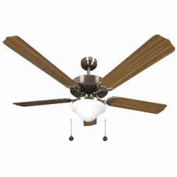 Ventilador de techo marrón de 132 cm, 2 bombillas E27, cable de tracción, control remoto.
