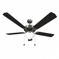 Ventilador de techo marrón wengé de 132 cm, 2 bombillas E27, cable de tracción, control remoto.