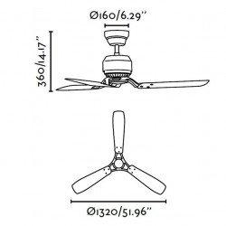 Ventilador de techo 132 cm Industrial, grafito, HUNTER