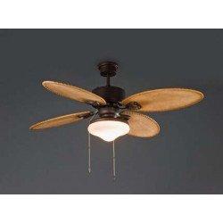 Ventilador de techo, colonial, marrón, con luz, de 132 cm FARO LOMBOK 33019