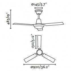 Ventilador de techo estilo industrial de 91 cm FARO Mini Indus 33011