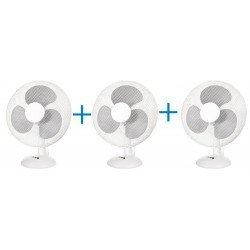 Lote de 3 Ventiladores de mesa 30 Cm, blanco de 3 velocidades con rejilla protectora, oscilante.