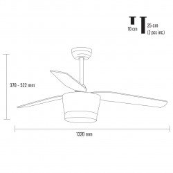 Ventilador de techo, Barca, 132cm, con luz, blanco/haya, Lba Home