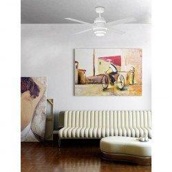 Ventilador de techo de diseño 132 cm blanco con doble lámpara LED , de infrarrojos mando a distancia FARO Disco Fan Led 33397