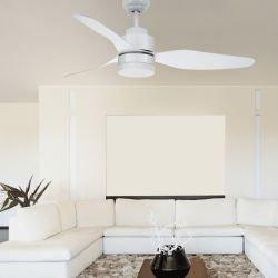 SERGENT- Ventilador de techo DC 116 cm. Blanco. Potente. Silencioso. Con luz. Con mando. Reversible. Ideal dormitorios.