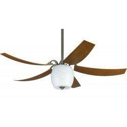 Ventilador de techo MARIANO PWW 132 Cm. Moderno, Estaño Mat, aspas curvadas lámpara ECO. Control remoto. Ultra silencioso