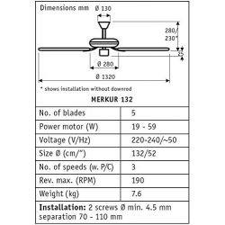 Ventilador de techo DC 132 Cm, Eco Elements GR Grafito, aspas - grafito barnizado/ negro mate.