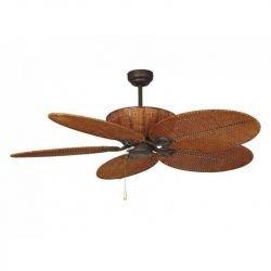 Patio es un ventilador de techo tropical colonial de 132 cm cuerpo de acero marron envejecido y mimbre trenzado marron.