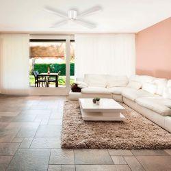 Ventilador de techo, perfil pequeño, 132cm, diseño, para techos bajos, con luz, blanco, Lba Home.