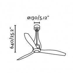 Ventilador de techo de diseño DC 130 cm ETERFAN vidrio negro mate, láminas de policarbonato, 32003 control remoto