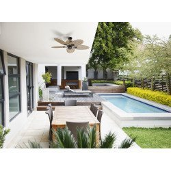 Ventilador de techo, Palma, 130cm, exterior, estilo tropical, control de pared, kit de luz, Lba Home
