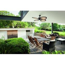 Ventilador de techo, Bali, 130cm, exterior, estilo tropical, control de pared, con luz, Lba Home