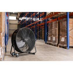 Ventilador industrial de alto rendimiento 80 cm, 123 Vatios con caja y ruedas.