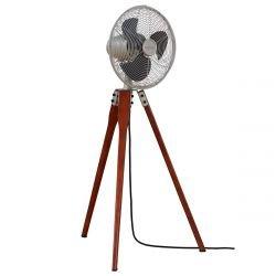 Ventilador de pie, Arden SN , 36,9 cm, nogal /nichel satinado, con trípode, potente, silencioso, Casafan.