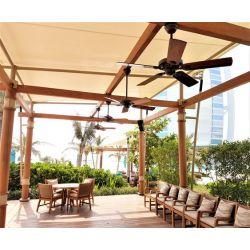 Ventilador de techo para exteriores IP44, bronce y aspas en teca compuesta 132 cm