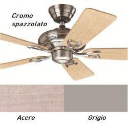 Ventilador de techo clásico cromo cepillado y aspas de arce y grises, silencioso 112 cm Hunter Seville