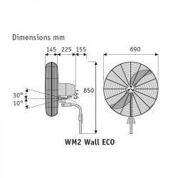 Ventilador de parel oscilante, de alto rendimiento 76 cm, 180 Vatios, con cromo.