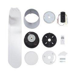 Ventilador de techo, Low profile Blanc, 132cm, diseño, para techos bajos, con luz, mando a distancia y WIFI ,Klassfan.