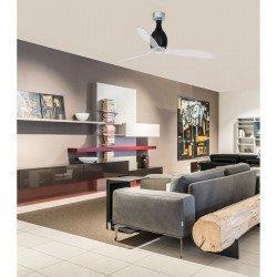 Ventilador de techo 130 cm cristal mate negro y aspas transparentes con mando - FARO MINI ETERFAN 32027