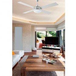 Ventilador de techo moderno  132 cm. de cromo, aspas bifaciales - arce / gris control remoto FARO ICARIA 33701