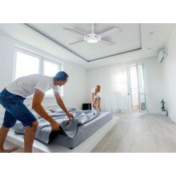 Ventilador de techo, Quartet Grey, 127cm, led+ dimmer, cuerpo plateado/palas transparentes, Lba Home