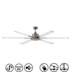 Ventilador de techo, North Star, 210cm, industrial, DC, niquel/blanco, Lba Home.