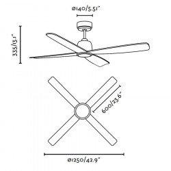 Ventilador de techo, DC, diseño, silenciosos, 125 cm. níquel mate, hojas de Avenged, Faro Molokai 33475