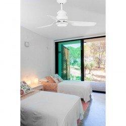 Ventilador de techo, moderno, con LED, blanco, control remoto IR, 120 cm, FARO PUKET LED 33468