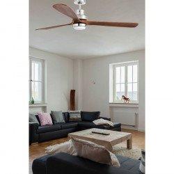 Ventilador de techo, diseño con lámpara LED, 168 Cm. aspas de nogal chromo LANTAU-GLED 33463