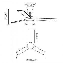 Ventilador de techo, níquel de 122 cm, con lámpara, aspas de dos colores, mando a distancia IR FARO 33608 Panay