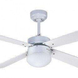 Ventilador de techo, Libetronic, 107cm, blanco, con luz y mando a distancia,...