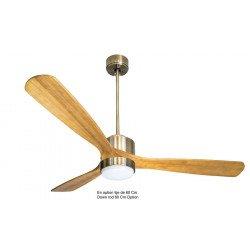 Ventilador de techo-superdestratificador, Módulo, 166cm, cuerpo de latón/palas de madera clara, termostato, +luz, Klassfan